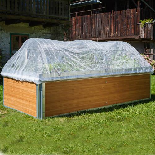 hochbeet mit aufgespanntem insektenschutz